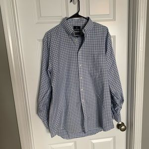 Blue and White a Plaid Oxford